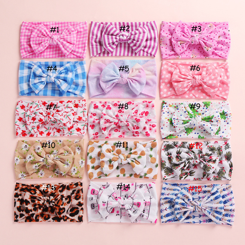 100 pcs lot Printed Nylon Baby Headbands Floral CLASSIC knot Bow nylon head wrap Wide nylon