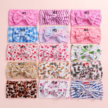 100 pcs/lot , Printed Nylon Baby Headbands, Floral CLASSIC knot Bow nylon head wrap, Wide headband baby shower gift - discount item  21% OFF Headwear