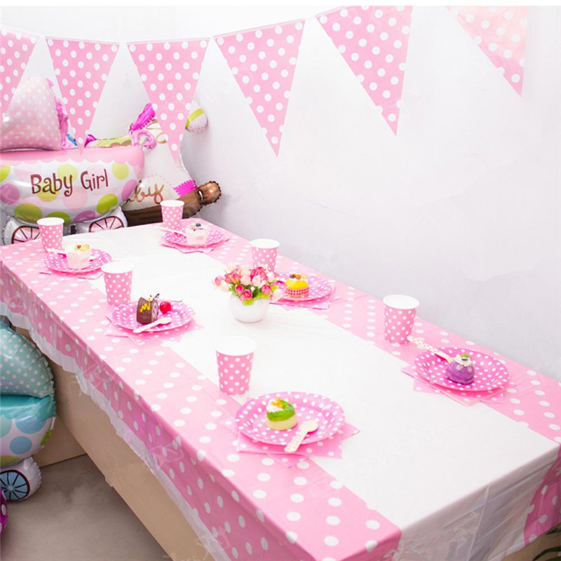 New Colorful 108*180CM Plastic Table Cover Cloth For Kids Birthday Party  Decoration Baby Shower