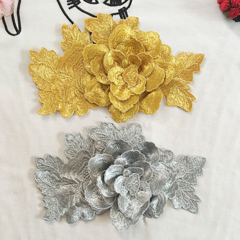 Computer Embroidered 3D Honeysuckle Dress Peony Decal Dress Accessories Cloth Folk Style