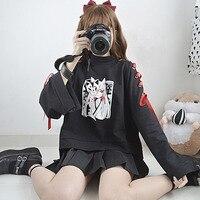 Japanese Style Fox Pattern Black Sweatshirts Women Vintage Dark Punk Red Ribbon Tie Hoodie Autumn Winter Pullovers Tops COOL