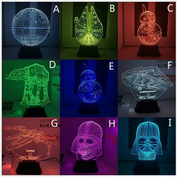Star Wars Desk 3D Lamp LED Night Light USB Skull Colorful Acrylic Kid Baby Small Lamp for Deco Innovative Christmas Gift Present touch switch led night 3d light spider man cartoon shape led light lamp colorful gradient living room gift and desk nightlight
