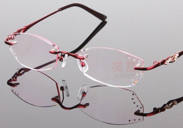 485e5d17cf87 Phantom trimming titanium eyewear female models diamond crystal trimming pink  rimless glasses finished reading glasses DHL