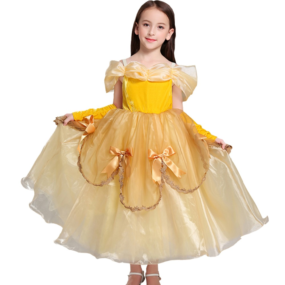 Belle Dress for Kids Costume Rapunzel Party Wedding Dress Costume Kids Girls Princess Dress Belle Sleeping Beauty Aurora Costume purple bowknot medieval dress renaissance gown sissi princess costume victorian gothic marie antoinette colonial belle ball