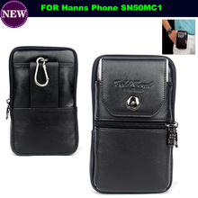 Luxury Genuine Leather Carry Belt Clip Pouch Waist Purse Case Cover for Hanns Phone SN50MC1 Mobile Phone Bag Free Shipping