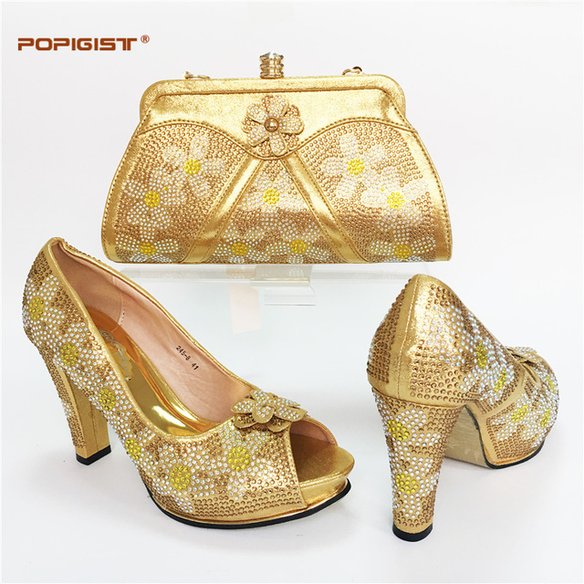 d7b598b43dad Gold Color Latest Italian Matching Shoes and Bag Set African Wedding Shoe  and Bag Sets Matching Shoes and Bags for Wedding