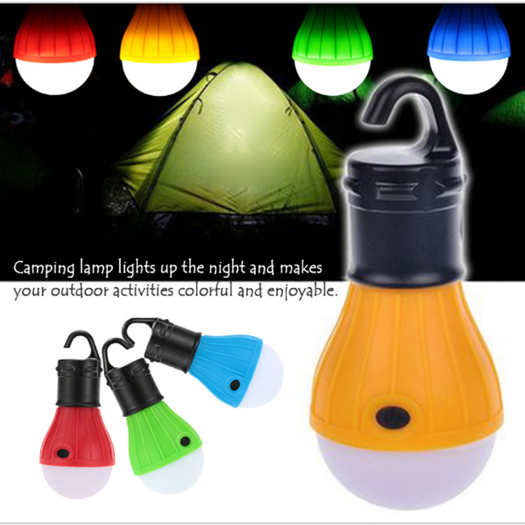 Outdoor Camping Lamp Tent Light Torch Flashlight Hanging Flat LED Light Mode Adjustable Lantern AAA Battery ABS Plastic