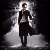 Ботильоны Длина пальто Для мужчин Демисезонный куртка пальто удлиненные Британский стиль плащ манто матрица же ветровка плащ