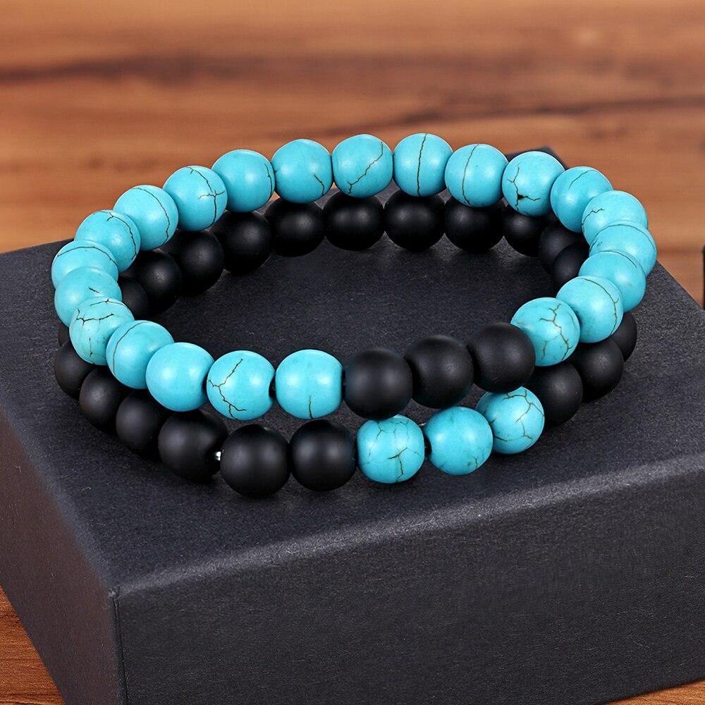 TYO Classic 2Pcs/Set Woman Men Black Lava White Natural Stone Bead Bracelet Set 8MM DIY Matching Couple Engagement Jewelry