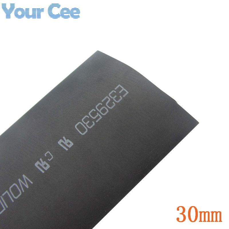 1m Black Insulation Sleeves Heatshrink Heat Shrink Tubing Wire Wrap Cable Kit Inner Diameter 30mm 600V 125Celsius