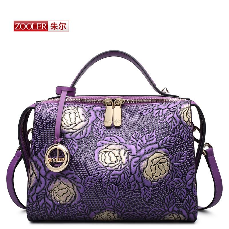 HOT ZOOLER women leather bag famous brands genuine leather bag high end embossed women bag 2016