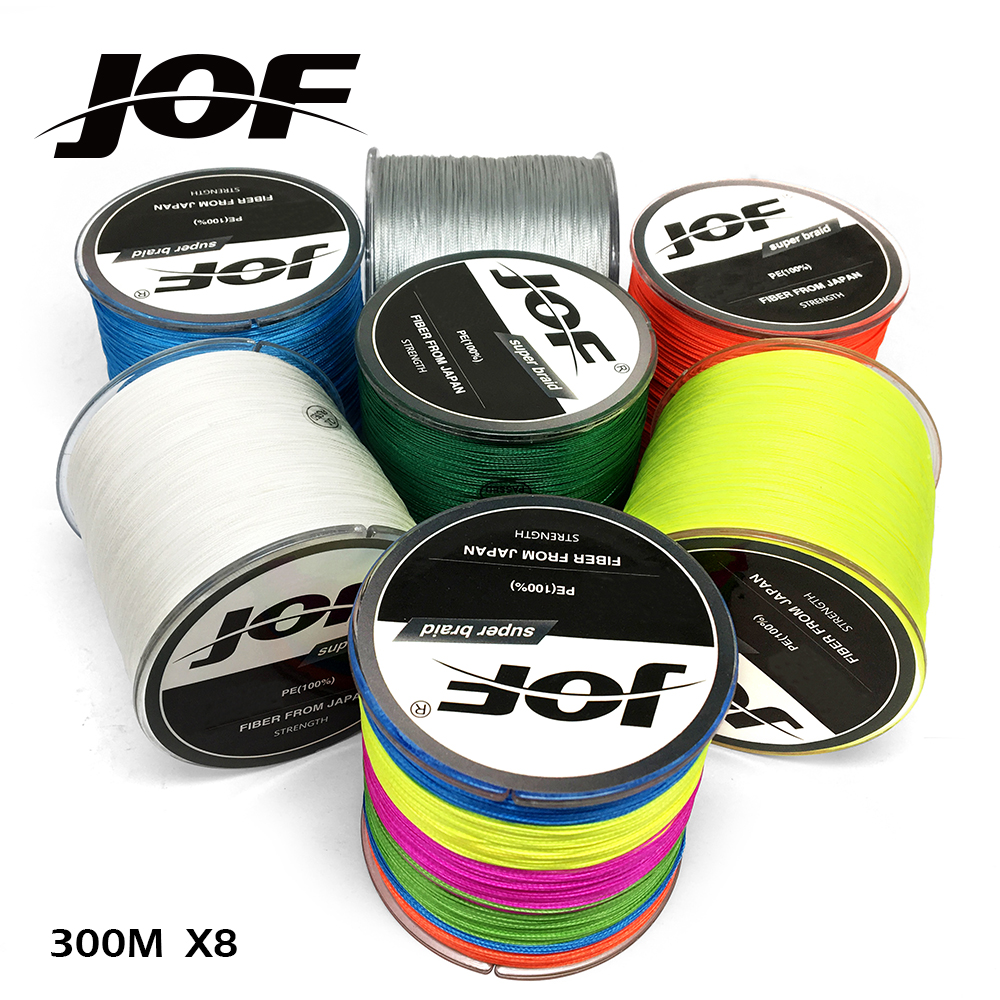 цены New JOF 300M multifilament fishing line braid 22LB-78LB PE super strong braided line fishing 8x fishing wires thread