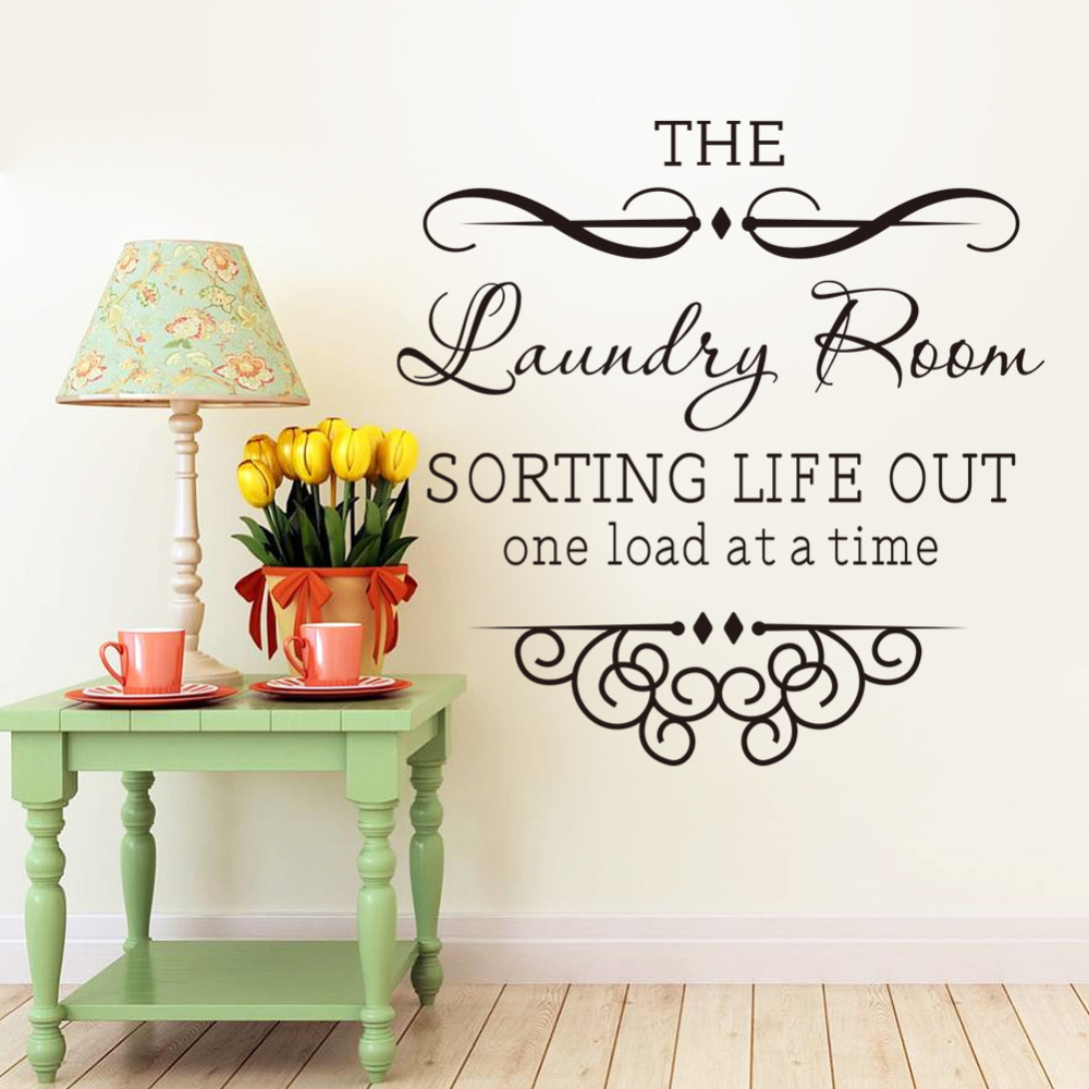 Vinyl Laundry Room Sayings Wall Sticker Quotes Bathroom Laundry Room Decoration Home Decor