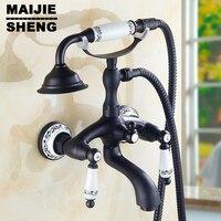 bath faucet with hand shower bathroom shower tap Black brone bath faucet shower mixer porcelain shower faucet bathroom telephone