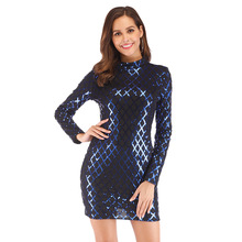 Autumn Winter Black Long Sleeve Sequins Dress