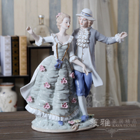 Europe creative ceramic girls lovers statue home decor crafts room decoration ornament porcelain figurines wedding decorations