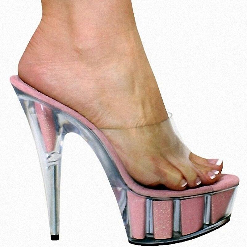 Mujeres Cristal Moda Sandalias Tacón Tacones Laijianjinxia Pulgadas 6 15 Elegante 4 Plataformas Party Zapatillas Alto Cm 2 De Clubbing 1 5 3 Brillo Zapatos zv8Pzq