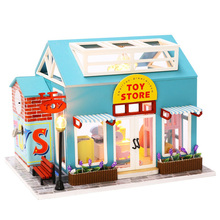 Doll House Miniature Dollhouse Assemble Kit Toy Wooden Toys Shop Furniture For Children