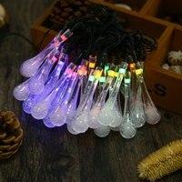 Gota de agua 8 Modos de 30 Led Solar Powered Luz de la Secuencia Impermeable Lámpara Decorativa