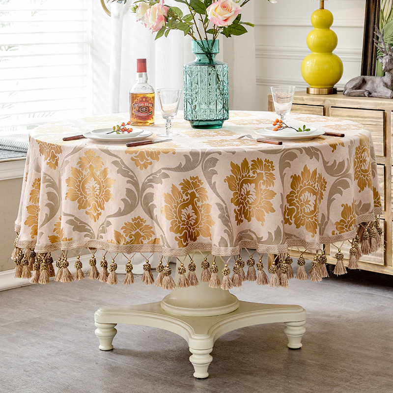 Image 2 - European style Luxury jacquard Tablecloth With Tassel for Wedding Birthday Party Round Table Cover Desk Cloth for home decorTablecloths   -