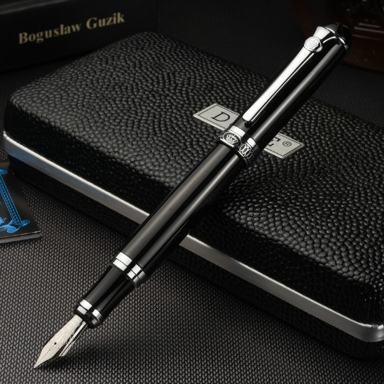 Luxury Gift Pen Set Duke d2 Smooth Black Metal Fountain Pen 0.5mm Iridium Nib Ink Pens for Writing School Supplies Free Shipping great calligraphy helper pilot parallel pen plate nib 2 ink cartridge 1 5 2 4 3 8 6 0mm flat tip fountain pen art set