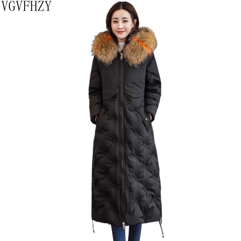 Down     Coat   Winter Women Warm Outwear   Coat     Down   Parkas With Fur Hooded Thicken White Duck Long Jacket Oversize   Down   Jacket LY1274
