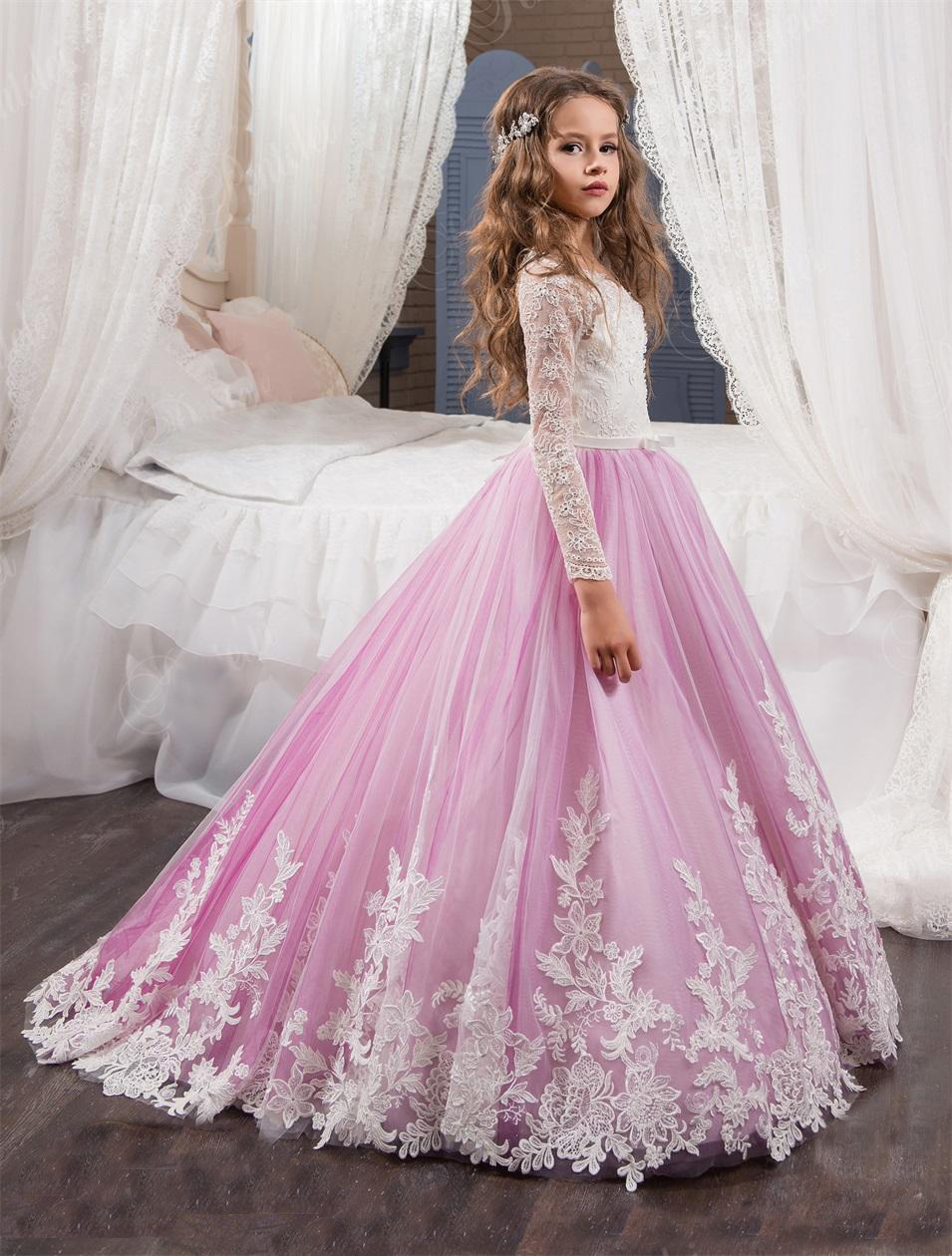 Lila Niñas Coummunion Vestido de Manga Larga Vestidos de Niña de ...