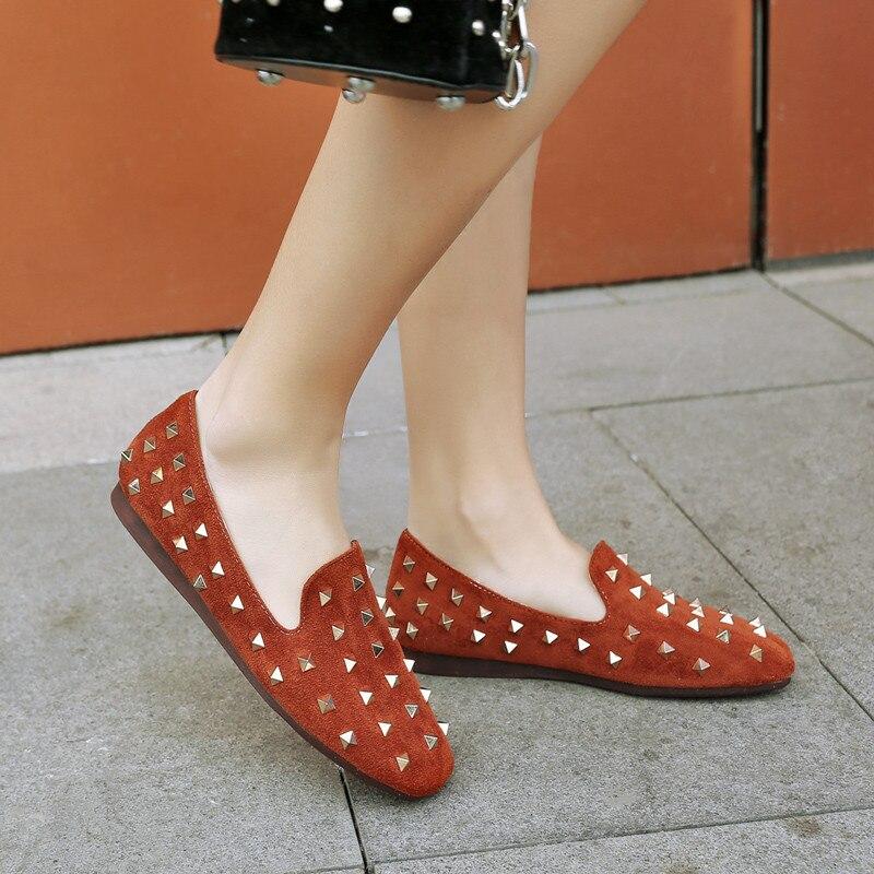 yellow Las Deslizamiento Zapatos 43 Mujeres Remache Mocasines Tamaño Holgazanes Primavera 33 Grande Planos Beige En Otoño black De qp4wT7