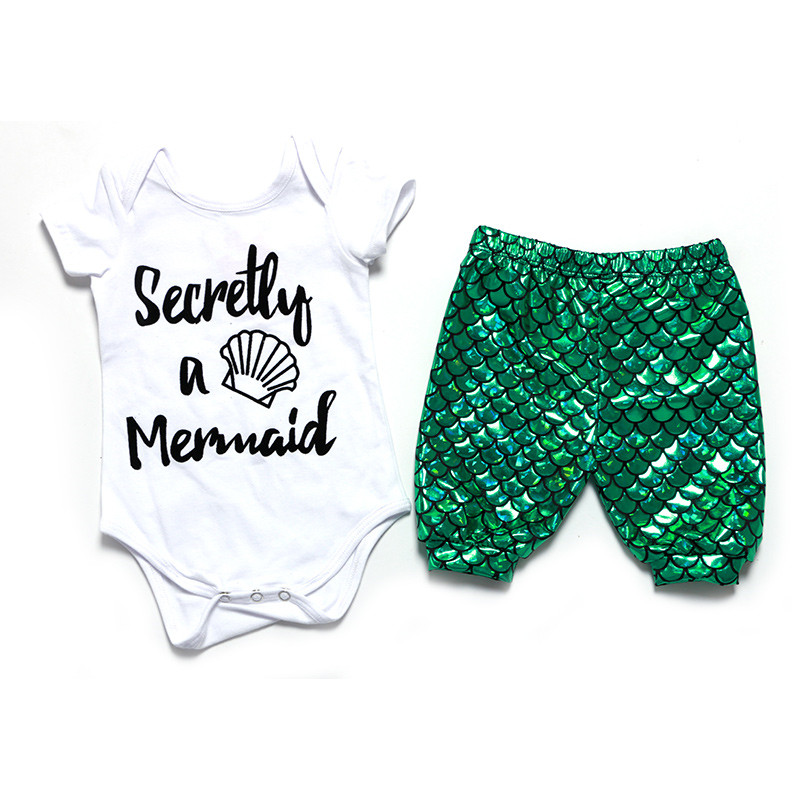 Green Mermaid themed 1st birthday outfit ,newborn going home ,Baby Girls pant bodysuit legging onesie