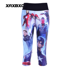 NEW 1119 Sexy Girl Women Comic Iron Man Thor 3D Prints Workout Fitness Cropped Trousers Leggings
