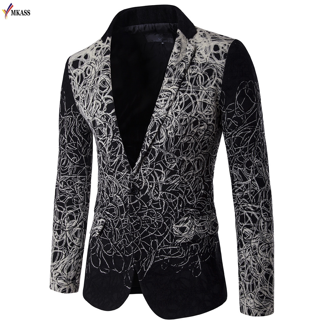 2017 Autumn Spring Mens Floral Blazer and Jackets Slim fit Fashion flower Wedding dress men blazer designs Suit men M-5XL
