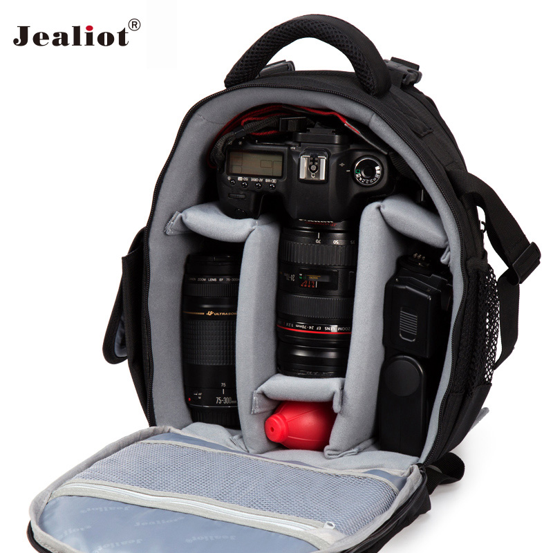 Jealiot DSLR Camera Bag SLR laptop Backpack Waterproof Video Photo Bags digital lens case for Canon Nikon d3200 d3100 d5200 d710 2018 jealiot waterproof camera bag dslr slr shoulder bag video photo bag lens case digital camera for canon nikon free shipping