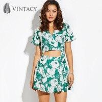 Vintacy Floral Wrap Short Blouse Shirt Women V Neck Short Sleeve Summer Casual Chiffon Croptop Lace