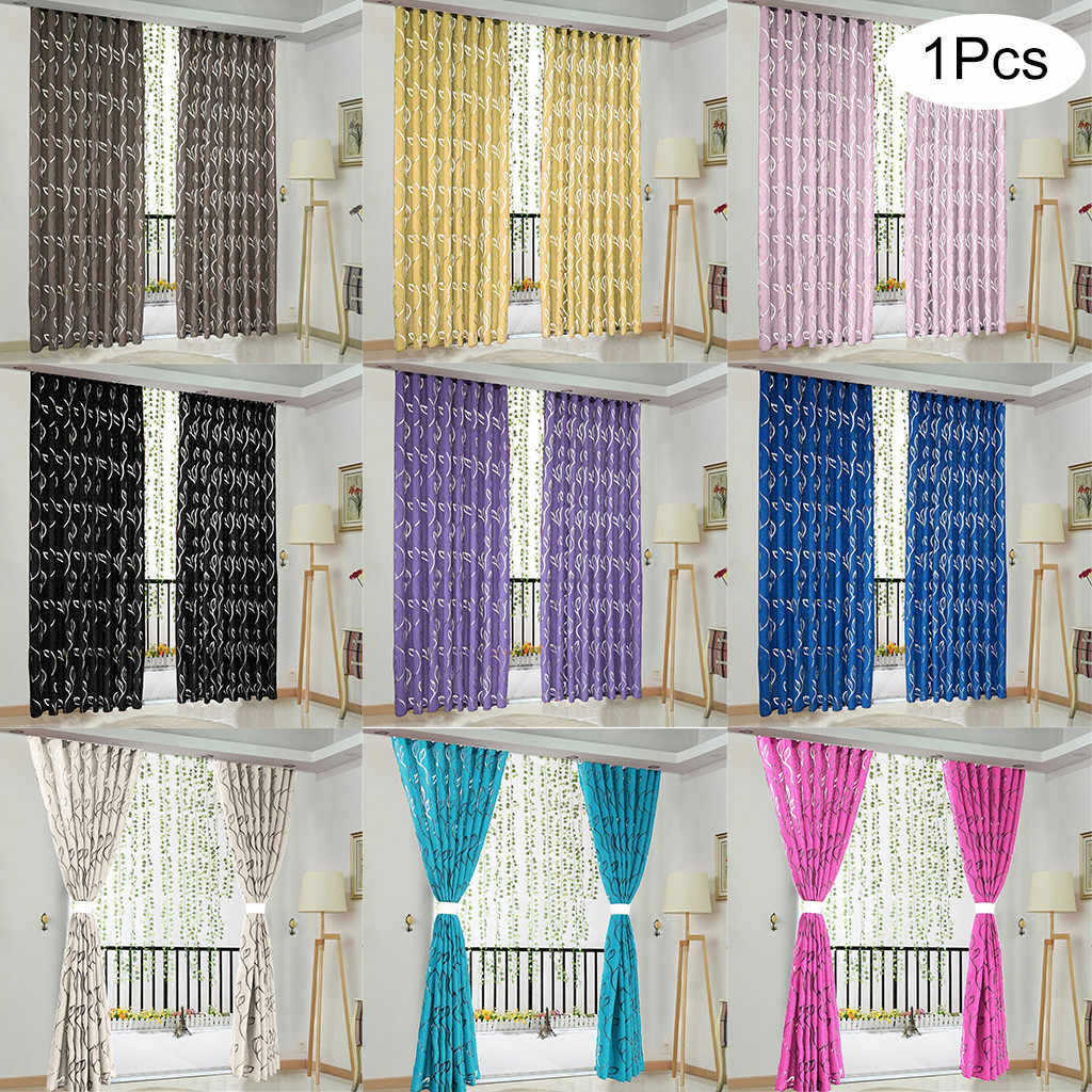 1 PCS Vines Leaves Tulle Door Curtains for Windows Curtain Drape Panel Sheer Scarf Valances window treatment purple black white