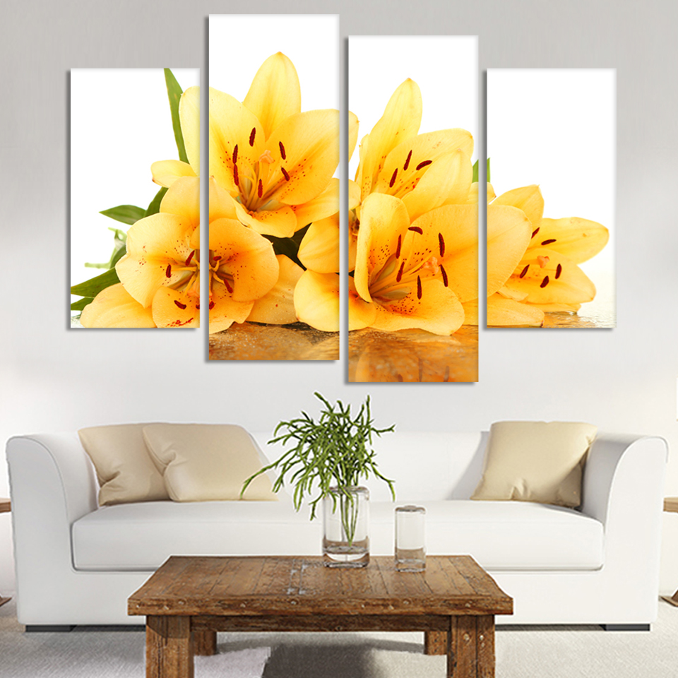 Four Square Part Of The Free Shipping Canvas Painting Home Decorative Arts Yellow Flowers Digital Image Frameless H147 In Calligraphy From