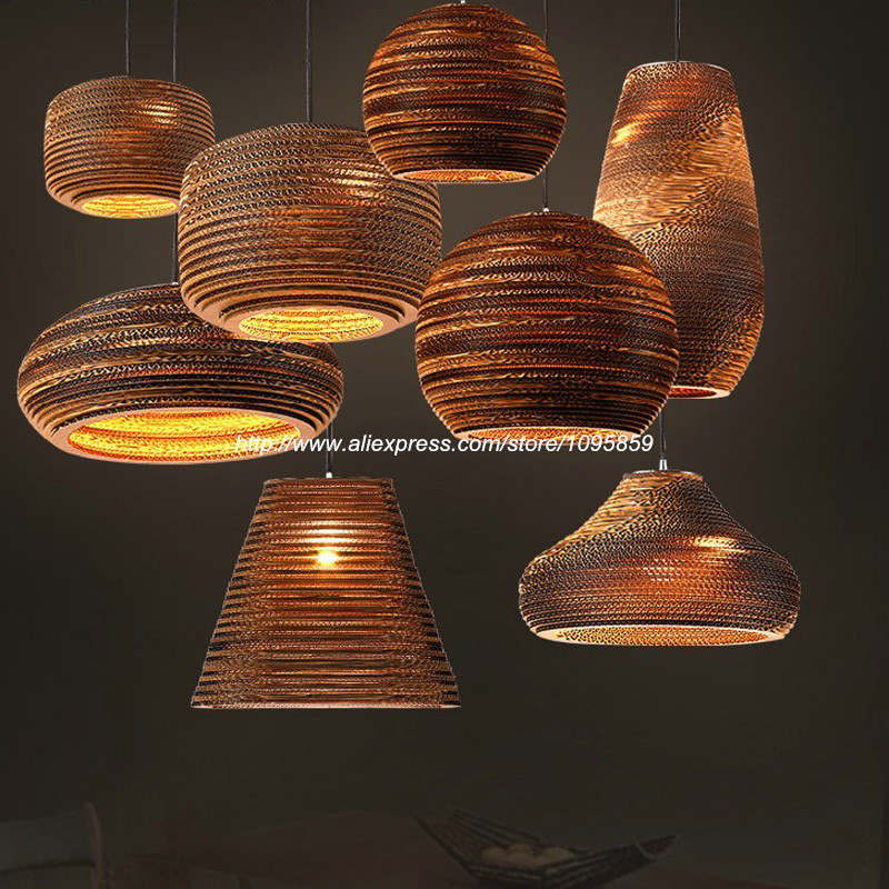 Free Shipping Modern Nordic Style Corrugated Paper Pendant Light Lamp Dining Room Ceiling