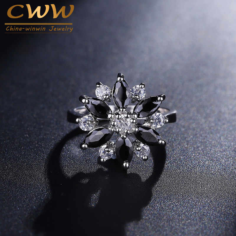CWWZircons 2017 ใหม่แฟชั่นการออกแบบรูปร่างดอกไม้ขนาดใหญ่สีขาวและสีดำ CZ แหวนคริสตัลคริสตัลสำหรับผู้หญิงเครื่องประดับอินเทรนด์ R072
