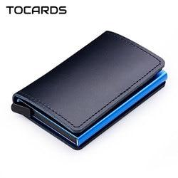 RFID Blocking 100% Genuine Leather Credit Card Holder Aluminum Metal Business ID Cardholder Slim Card Case Mini Wallet for Men