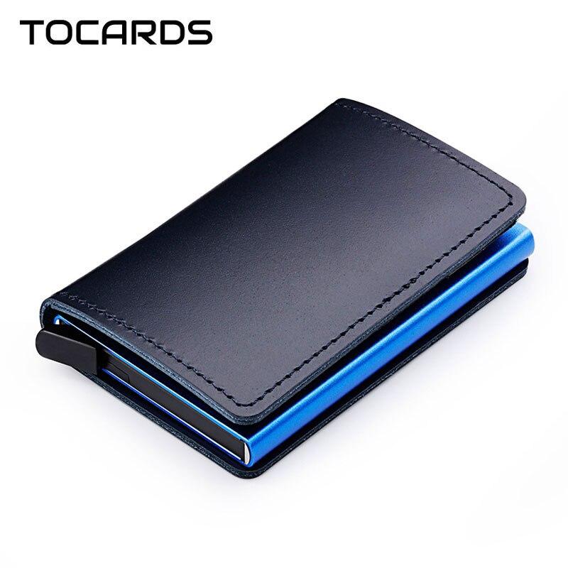 RFID bloqueo 100% de cuero genuino titular de la tarjeta de crédito de Metal de aluminio negocios ID tarjeta Slim caso Mini cartera para hombres