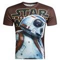 New Arrival Homens Star Wars Top 2016 Hot 3D T camisa Impressão camiseta Manga Curta T-Shirt BB8 Masculino Tees Camisetas