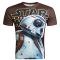 New Arrival Men Star Wars Top 2016 Hot 3D T shirt Short Sleeve T-Shirt BB8 Print t shirt Male Tees  Camisetas