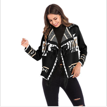 New 2019 Spring Women Geometric Pattern Fringed Shawl Turn-down Collar Coat Splices Tassel Open Stitch Long Sleeve Knit Cardigan new 2019 spring women geometric pattern fringed shawl turn down collar coat splices tassel open stitch long sleeve knit cardigan
