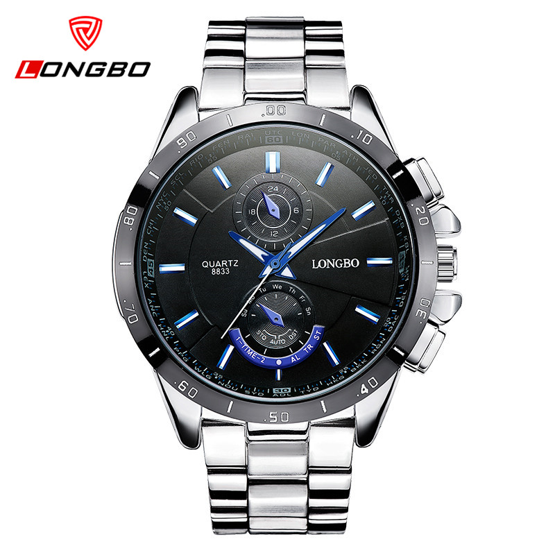 LONGBO Mens Watches Top Brand Luxury Watch Men Business Stainless Steel Clock Casual Watch Sport Watches Relogio Masculino 8833