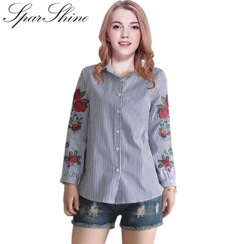 Rose Flower Embroidery Striped Blouses Women Long Sleeve Shirt Casual Cotton Blouses And Tops Work Office Shirts