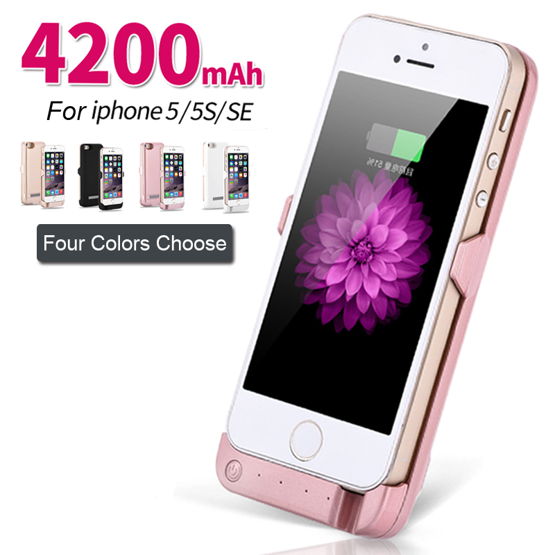 charger case for iphone 5s 4200mah power charging for iphone 5 5s se external 9602