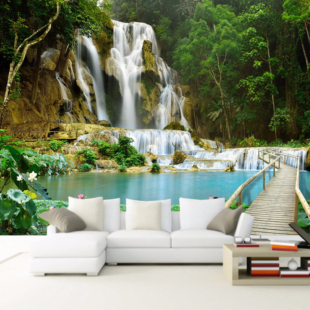 Forest waterfall nature landscape photo wall mural for bedroom forest waterfall nature landscape photo wall mural for bedroom living room sofa backdrop decor non woven customized 3d wallpaper in wallpapers from home amipublicfo Choice Image