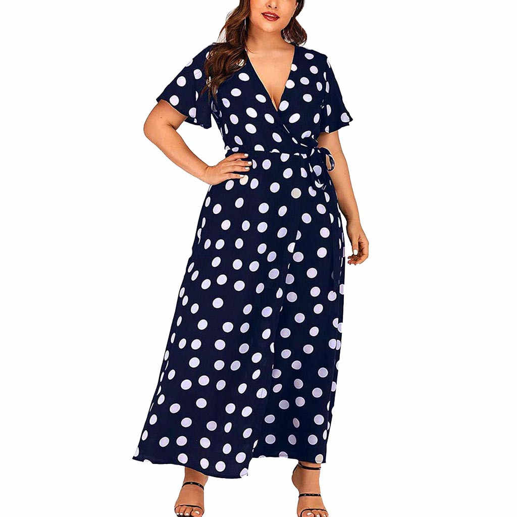 De talla grande Sexy Boho lunares volantes mujeres dulce vestido de gran tamaño de verano Sashes Robe Vestidos manga Flare Vestidos femeninos