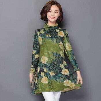6557ce697df Весна Плюс Размер длинная туника блузка женская 2019 Осень цветочный принт  женские рубашки с длинным рукавом сорочка Femme Повседневные женски.