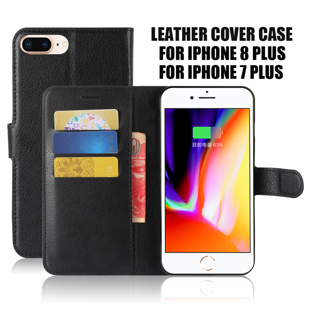 KIP8P1020_1_Litchi Texture Leather Case with Card Slots & Stand for iPhone 8 Plus