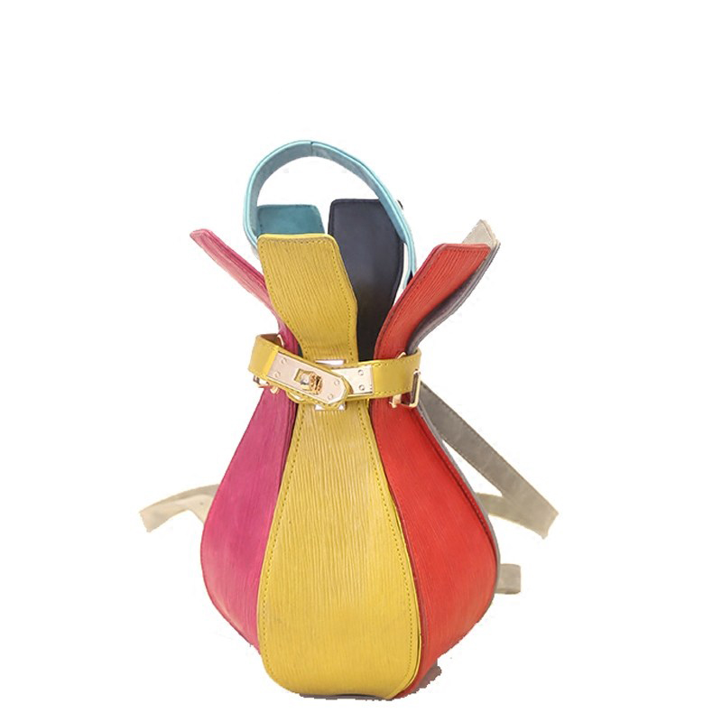 Novel Chic 2016 New Colorful Rucksack Twist Lock Stylish Bottle shaped Embossing Hand Bag Women Small